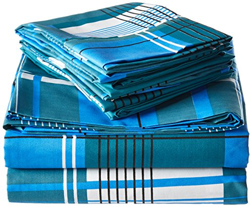 Spirit Linen Hotel 5Th Ave Palazzo Home 6-Piece Luxurious Printed Sheet Set, Queen, Blue/Plaid