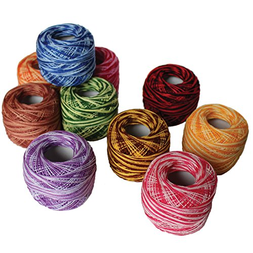 Cotton Yarn Crochet Patterns (10 Pack Crochet Cotton Yarn Thread by Kurtzy- Stripy Design in An Assortment of Colors - Threads for Patterns, Projects and Applique - 20 Grams - 170 Metres of Thread Material)