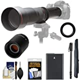 Vivitar 650-1300mm f/8-16 Telephoto Lens with 2x Teleconverter (=2600mm) + EN-EL14 Battery + Monopod Kit for D3300, D3400, D5300, D5500, D5600 Cameras