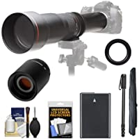 Vivitar 650-1300mm f/8-16 Telephoto Lens with 2x Teleconverter (=2600mm) + EN-EL14 Battery + Monopod Kit for Df, D3100, D3200, D3300, D5100, D5200, D5300 Camera Key Pieces Review Image