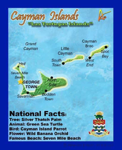 Best Ultimate Iron-On Cayman Islands Travel Collectable Souvenir Patch - Destination Map Souvenir Postcard Type Quality Graphics - Caribbean - Cayman Islands (Island Postcard)
