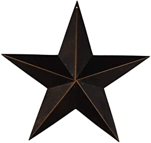 "EBEI Metal Country Antique Barn Star 21.5"" Rustic Americana Style Dark Brown Texas Lone Star Home Wall Décor"
