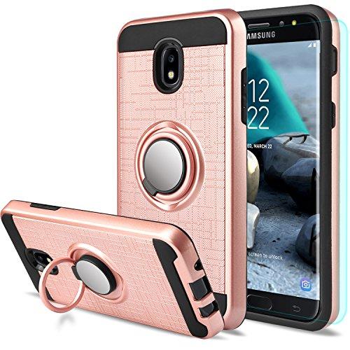 Galaxy J7 2018 Case Samsung Galaxy J7 Aero/J7 Top/J7 Crown/J7 Aura/J7 Refine/J7 Eon Case with Screen Protector,AnoKe 360 Degree Rotating Ring Holder Kickstand for Galaxy J7 2018 ZS Rose Gold