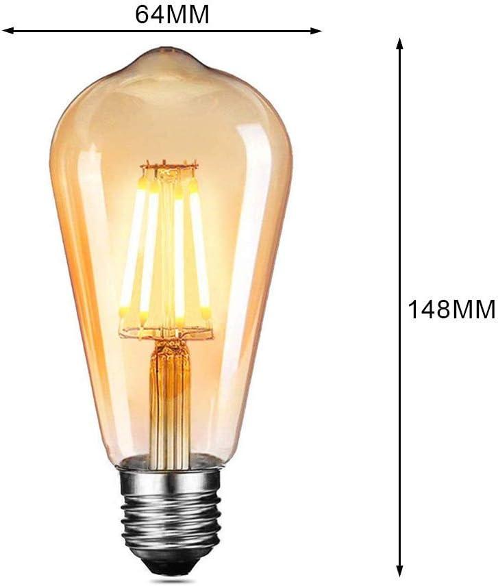 Ampoules /à incandescence R/étro ST64 220-240V 40W Edison Ampoule Antique Lampe Blanc Chaud 3 Pack E27 Edison Ampoule Vintage