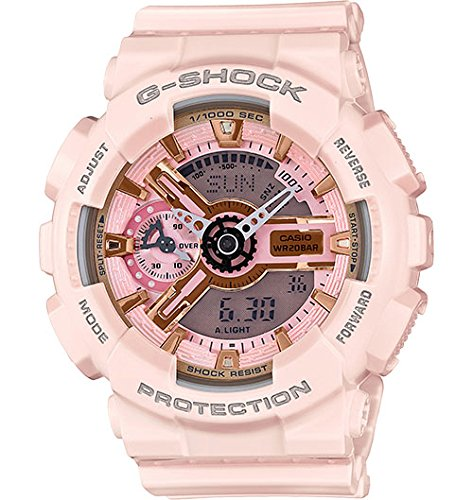 Price comparison product image Casio G-Shock Gold and Pink Dial Pink Resin Quartz Ladies Watch GMAS110MP-4A1