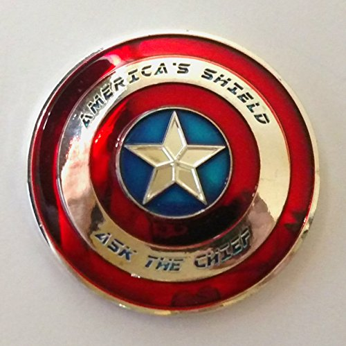 USN United States Navy Captain America Shield Colorized Challenge Art Coin ()