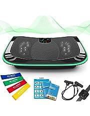 4D Vibrationsplatte – Leistungsstark mit 3 leisen Motoren | Leicht zu Bedienen | Magnetfeldtherapie Massage | Ultra Komfort – Curved Design | 4.0 Bluetooth Lautsprecher | Vibration Oszillation