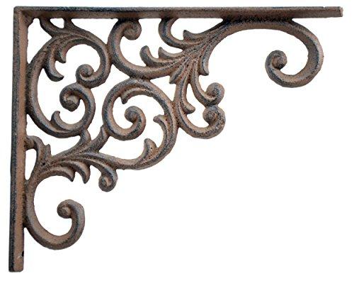 - Wall Shelf Bracket Ornate Vine Pattern Brown Cast Iron Brace 9.375