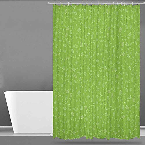 (VIVIDX Shower stall Curtains,Green,Doodle Style Tulip Flowers with Swirled Twigs and Leaves Blossoming Nature,Fabric Shower Curtain Bathroom,W47x63L Lime Green White)