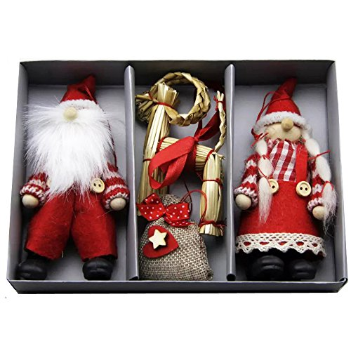Tomte Man & Lady with Goat Ornaments - 3 Pack