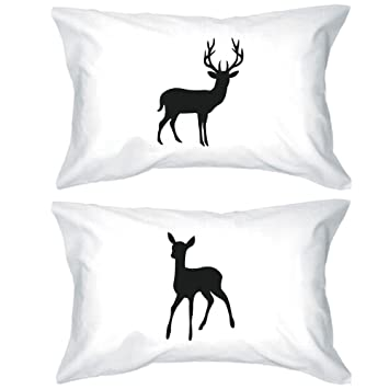 Amazon Com Buck And Doe Couple Pillowcases Deer Pillow Covers