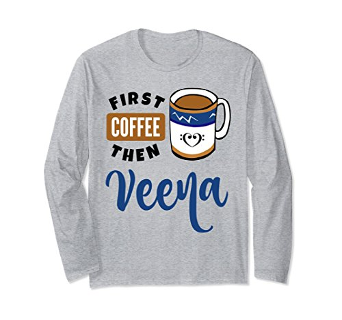 First Coffee Then Veena Music Lover Double Bass Clef Heart Long Sleeve Shirt
