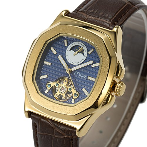 Skeleton Mens Automatic Mechanical Mens Wrist Watch - ManChDa Brown Genuine Leather Moon Sun Phase Blue Dial by ManChDa (Image #1)