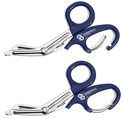 EMT Trauma Shears with Carabiner - Stainless Steel Bandage Scissors for Surgical, Medical & Nursing Purposes - Sharp 2-pack Scissor is Perfect for EMS, Doctors, Nurses, Cutting Bandages [Blue]