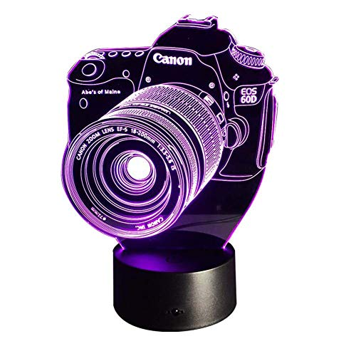 (Optical Illusion USB Charging Night Light Camera 3D Child LED Lamp, Color Change 15 Color for Bedroom, Kids Room, Coffee Table, Christmas Decoration and Lover Gift)