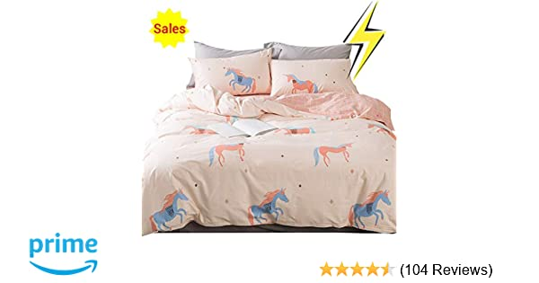67b34d51fd88 OTOB Unicorn Duvet Cover Twin Bedding Sets Cotton Pink for Girls Kids  Toddler Woman Children Princess Cartoon Animal Reversible Geometric  Checkered Plaid ...