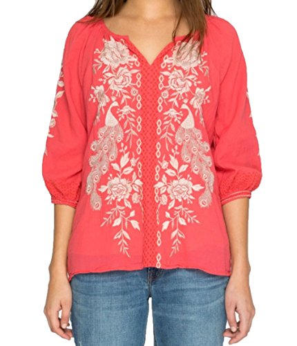 Johnny Was Women's Surya Back Slit Peasant Dusty Coral (Surya Coral)