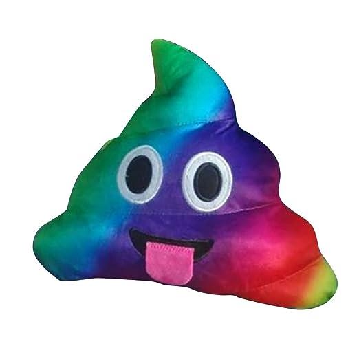 Bluelans – peluche almohada cojín Emoji caca con forma de Smiley Face muñeca juguete, Rainbow Tongue, 20cm/7.87