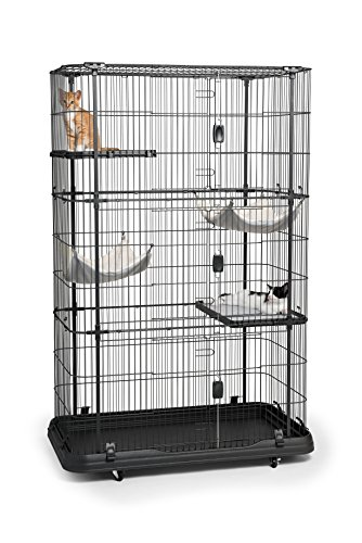 Prevue Pet Products Premium/Deluxe Cat Home, Black (Home Cage)