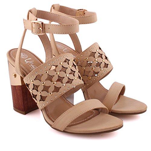 Heel Bloque de Slip 3 on Mujeres del Beige pie de 8 Tamaño dedo del fiesta Soiree Diseño Correa UK Unze Correa tobillo Recolectado Sandals Cena w5TE4xxIq