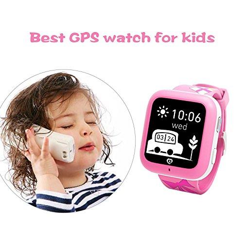 Misafes Unisex kinder Smart Uhr Sport Monitor GOOGLE GPS Tracker Digitaluhr Babyphone Baby Telefon Handy Rosa (SIM-Karte ist nicht enthalten)
