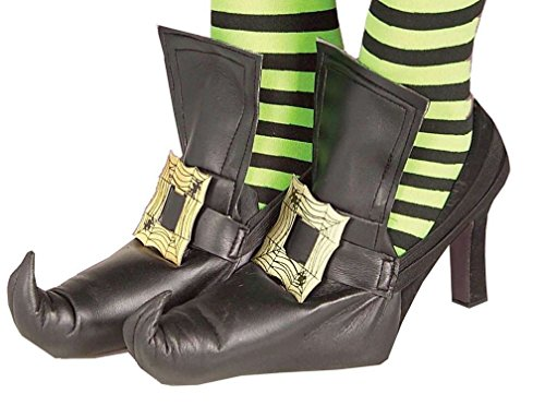 [Popcandy Witch Shoe Covers with Gold Buckle] (Witch Wig Stripes)