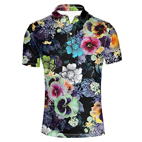 Polo Shirt Print Vintage (HUGS IDEA Vintage Floral Print Men's Pique Polo Shirt Summer Black Short Sleeves T-Shirt)