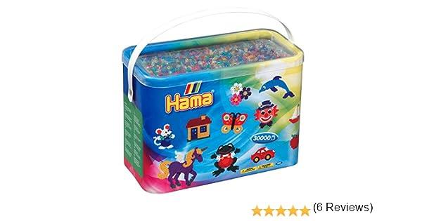 Hama – 208 – 53 – Manualidades – Midi – Cubo – 30000 Perlas – Mixta – Transparente: Amazon.es: Juguetes y juegos