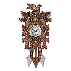 QZY Cuckoo Wall Clock Bird Alarm Clock Wood Hanging Clock Time for Home Restaurant Unicorn Decoration Art Vintage Swing Living Room,B