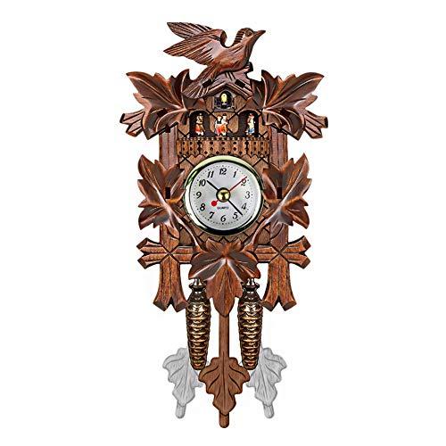 (QZY Cuckoo Wall Clock Bird Alarm Clock Wood Hanging Clock Time for Home Restaurant Unicorn Decoration Art Vintage Swing Living Room,B)