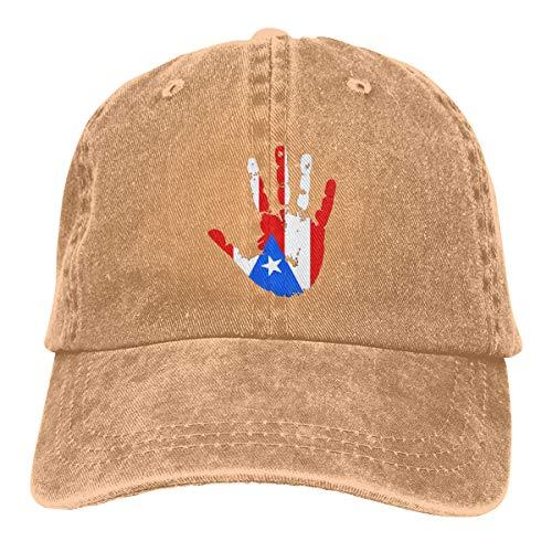 TYMOFII80 Baseball Cap Puerto Rico Flag Handprint Adjustable Cotton Peaked Dyed Cap Washed Denim Dad ()
