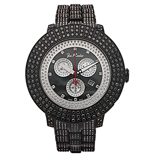 Joe Rodeo JRPL29 Pilot Diamond Watch, Black Dial with Black Paved Band