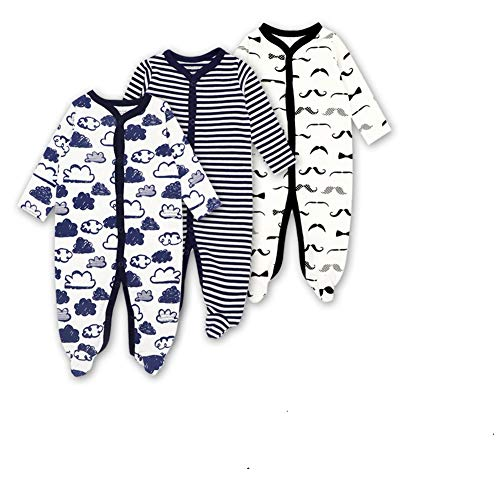 (Mothernest Baby Boys' Footed Pajamas Sleeper 3 Pack Long Sleeve for Snap Sleep Play (Paws Monkey Stripe 3-6M))