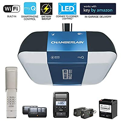 Chamberlain B1381 Corner Lighting Smartphone-Controlled Ultra-Quiet & Strong Belt Drive Garage Door Opener with Battery Backup & Max Lifting Power, 1.25 hp, Blue