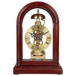 HENSE Regulator Mechanical Wind-Up Mantel Chime Clocks with Clear Doors on Front & Back Side HD13 (Brown)