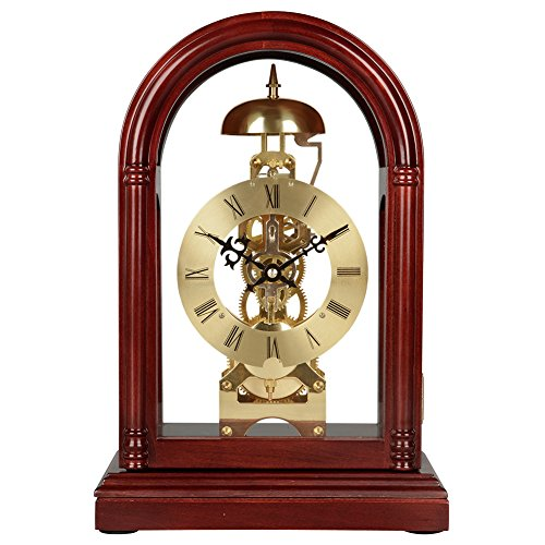 HENSE Regulator Mechanical Wind-Up Mantel Chime Clocks with Clear Doors on Front & Back Side HD13 (Brown) (Regulator Glass Clock)