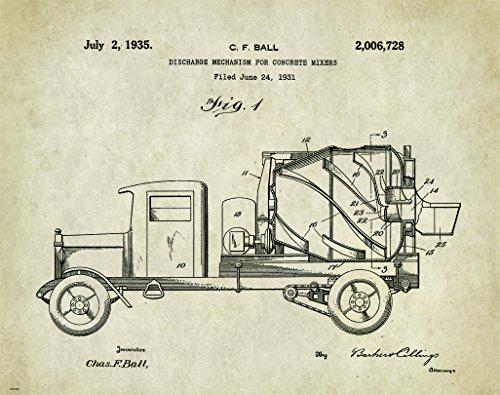 Concrete Cement Truck Patent Poster Art Print 11X14 Wall Decor Picture Vintage Road Construction Heavy Equipment