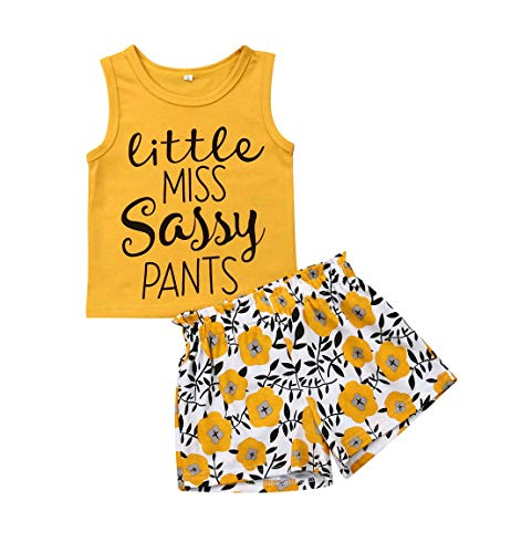 Toddler Girl Sleeveless Outfits Miss Sassy Pants Floral Shorts Set Clothes (110(3-4T), A-Yellow)
