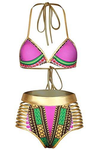 Sundray Womens Printed Halter Tie Triangle Top High Waist Bikini Swimwear Pink L