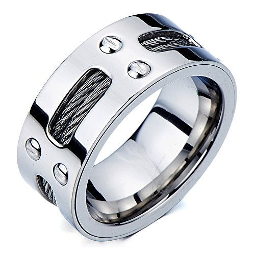Man's Stainless Steel Ring Wedding Band with Steel Cables and Screws 10mm(30a)