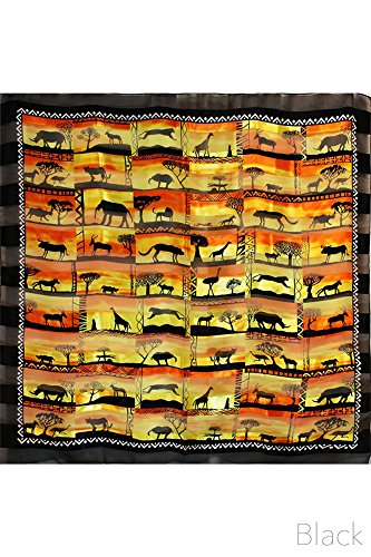 ScarvesMe Women Fashion Africa Animals Serengeti Made in Korea Satin Scarves (Black) by ScarvesMe