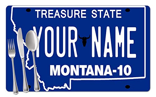 - BRGiftShop Personalized Custom Name 2016 Montana State License Plate Set of 4 Table Placemats