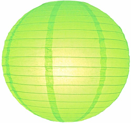 "UPC 712395859049, Quasimoon 8"" Light Lime Even Ribbing Round Paper Lantern (10 PACK) by PaperLanternStore"
