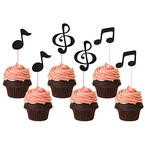 Black Music Notes Cupcake Toppers for Music Themed Party Decorations, 36CT -