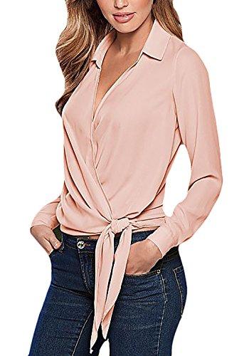 Sciolto Camicia V Top Blusa Costume Ragazza Strappy Moda Elegante Pink Unique Vintage Tinta Unita Lunga Camicie Orlare Camicetta Scollo Donna Manica Risvolto PBPSfFrY