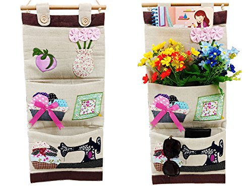 Natural Linen Fabric Wall Hanging Organizer - Xfpillar ,Embroidery Cartoon Pattern, 3 Pockets, Door Closet Window Hanging Storage Bag Organizer, for Baby Room Organizer and Storage (Flower Style)