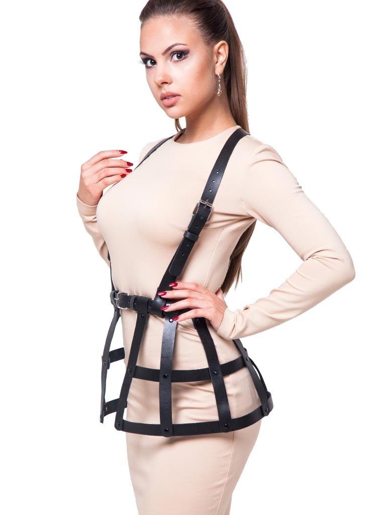 ZAKIA Women's Punk Style Sexy Leather Tassels Waist Belt Skirt Rave Body Cage Harness Adjustable (Black1)