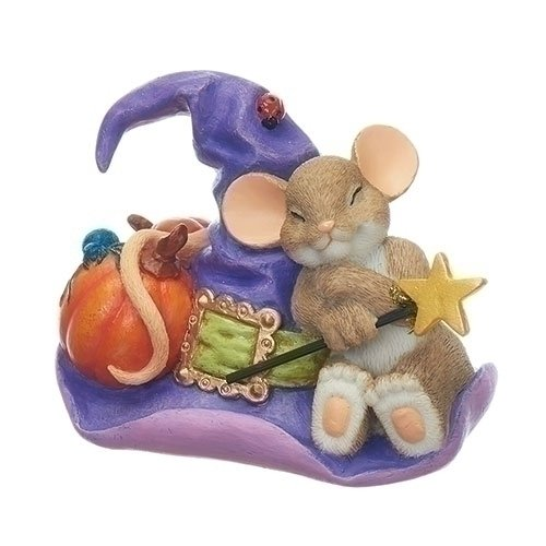 Charming Tails Halloween (Mouse on Witch Hat 3 Inch Resin Decorative Halloween Tabletop)