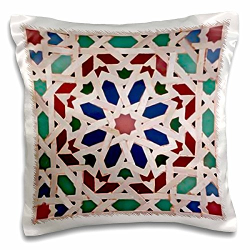 Lee Hiller Designs Tile Prints - Multi Color Ceramic Basket Weave Print - 16x16 inch Pillow Case - Print Basket Weave Shirt
