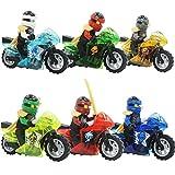 6pcs/lot compatible NinjagoINGlys mini ninja figures Kai Nya Lloyd Jay Cole Zane with weapons Motorcycle Building blocks toys